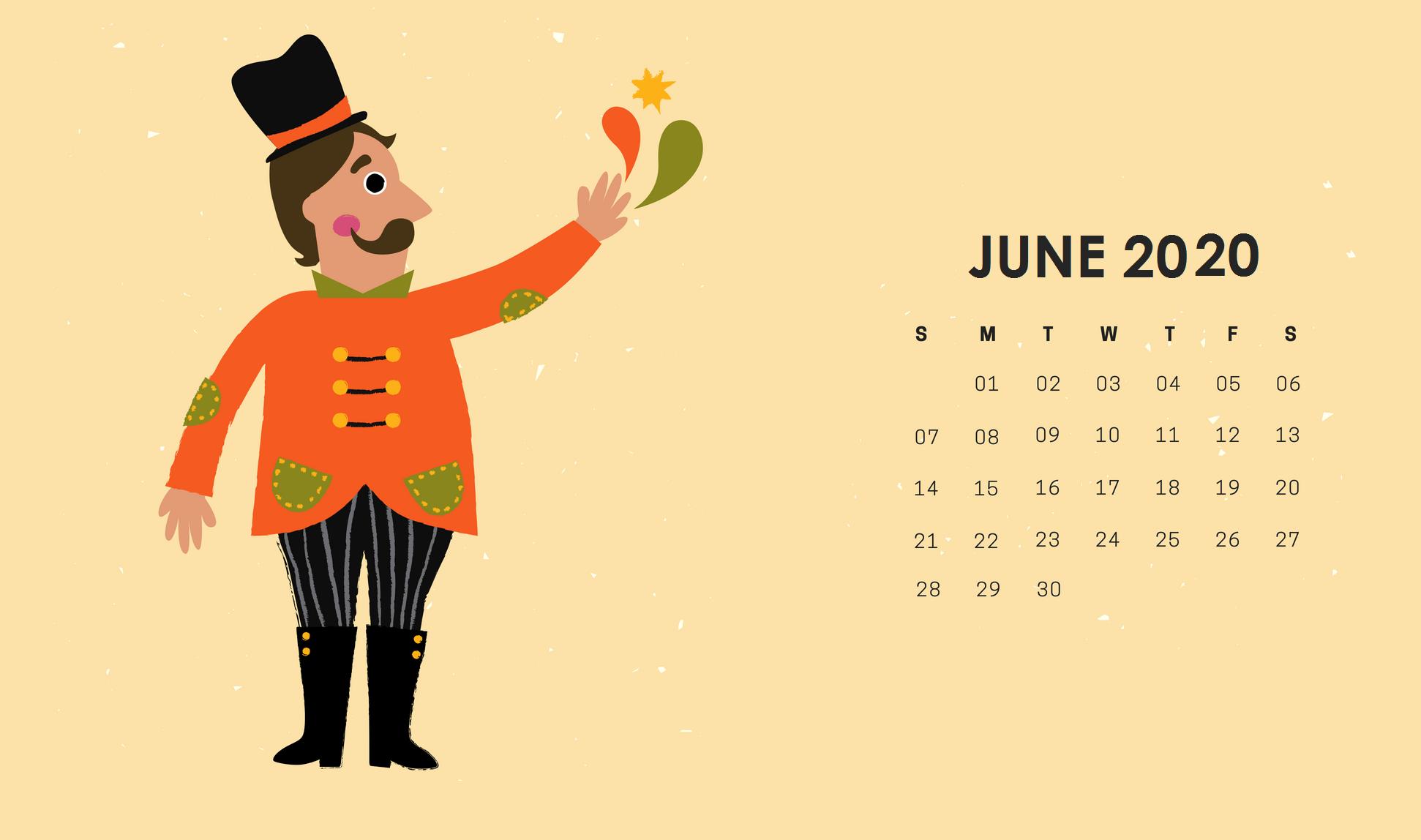 Cute June Floral Wall Calendar Printable