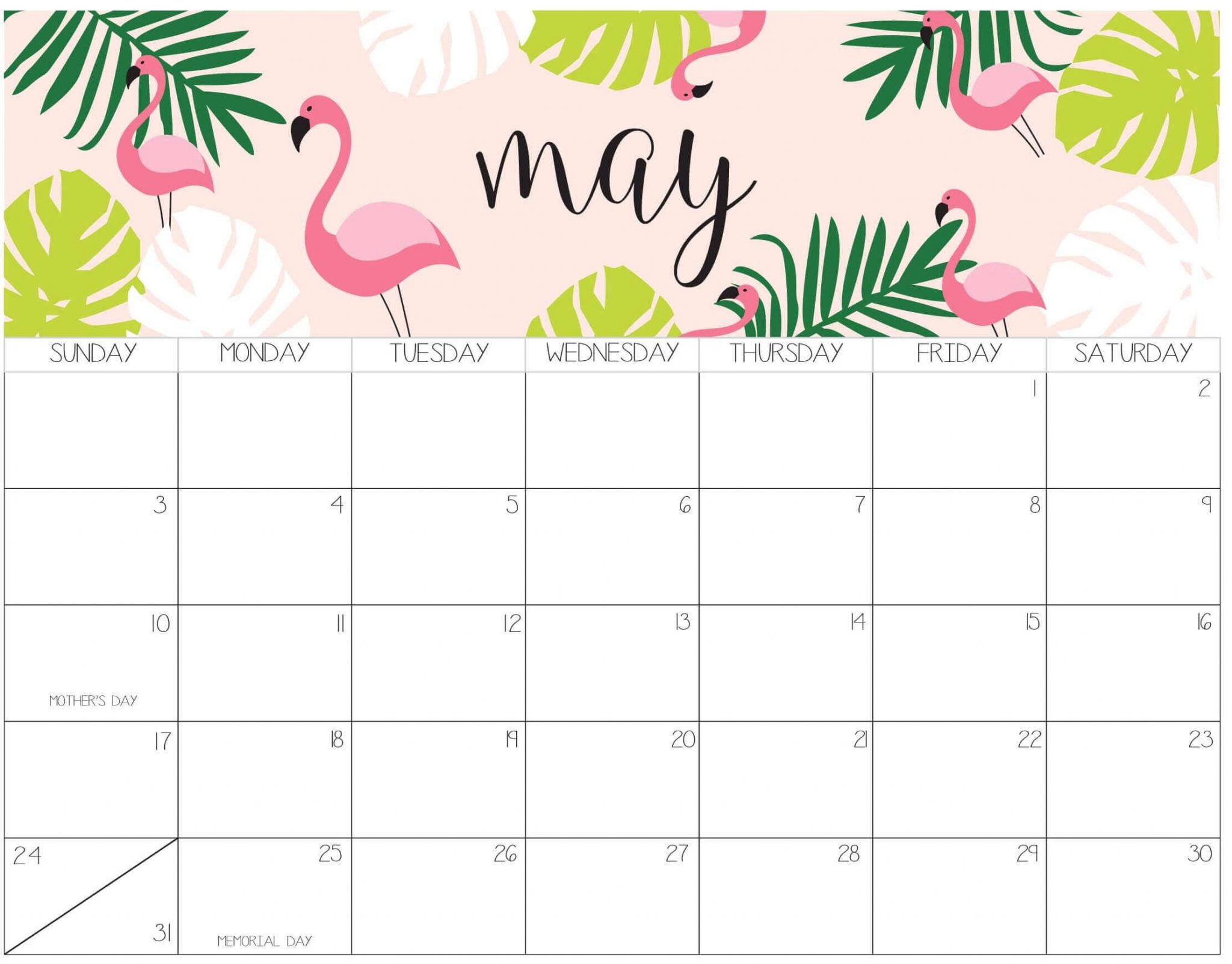 Cute May 2020 Calendar Printable PDF