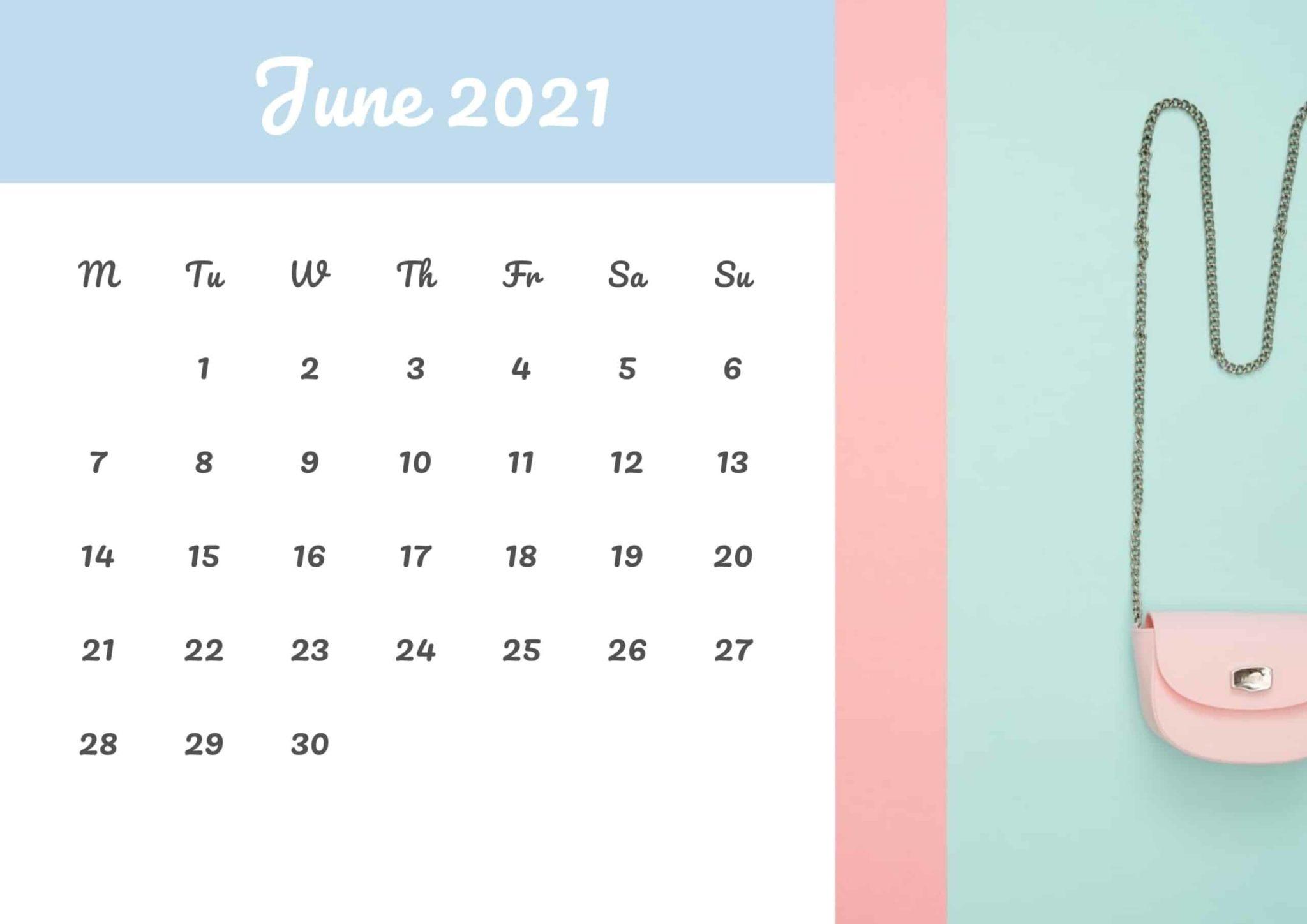 Cute Printable Calendar For June 2021