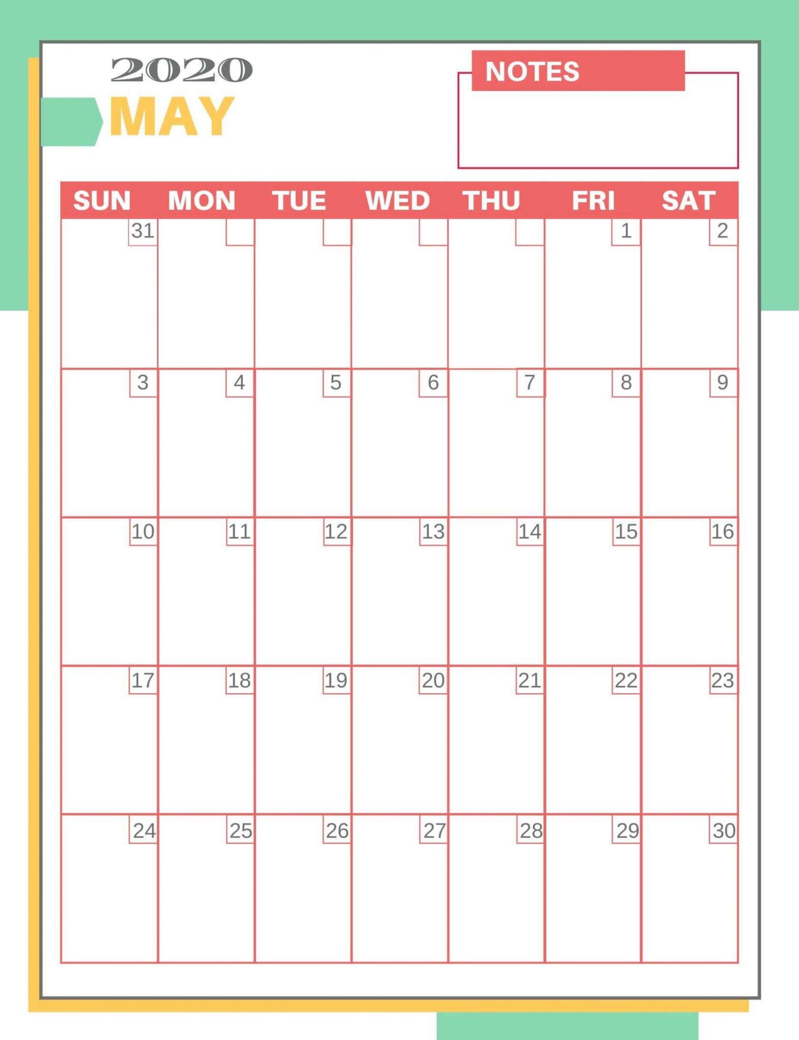 Free May 2020 Printable Calendar PDf