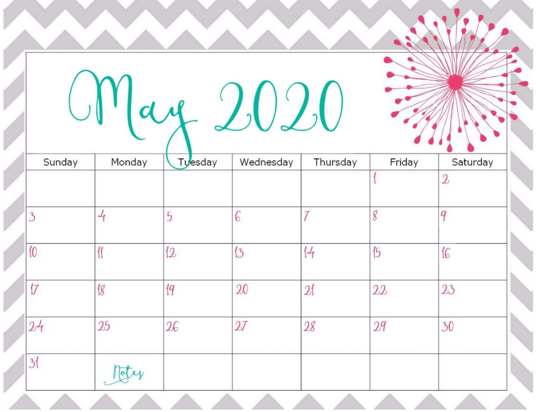 Editable May 2020 Calendar Printable PDF