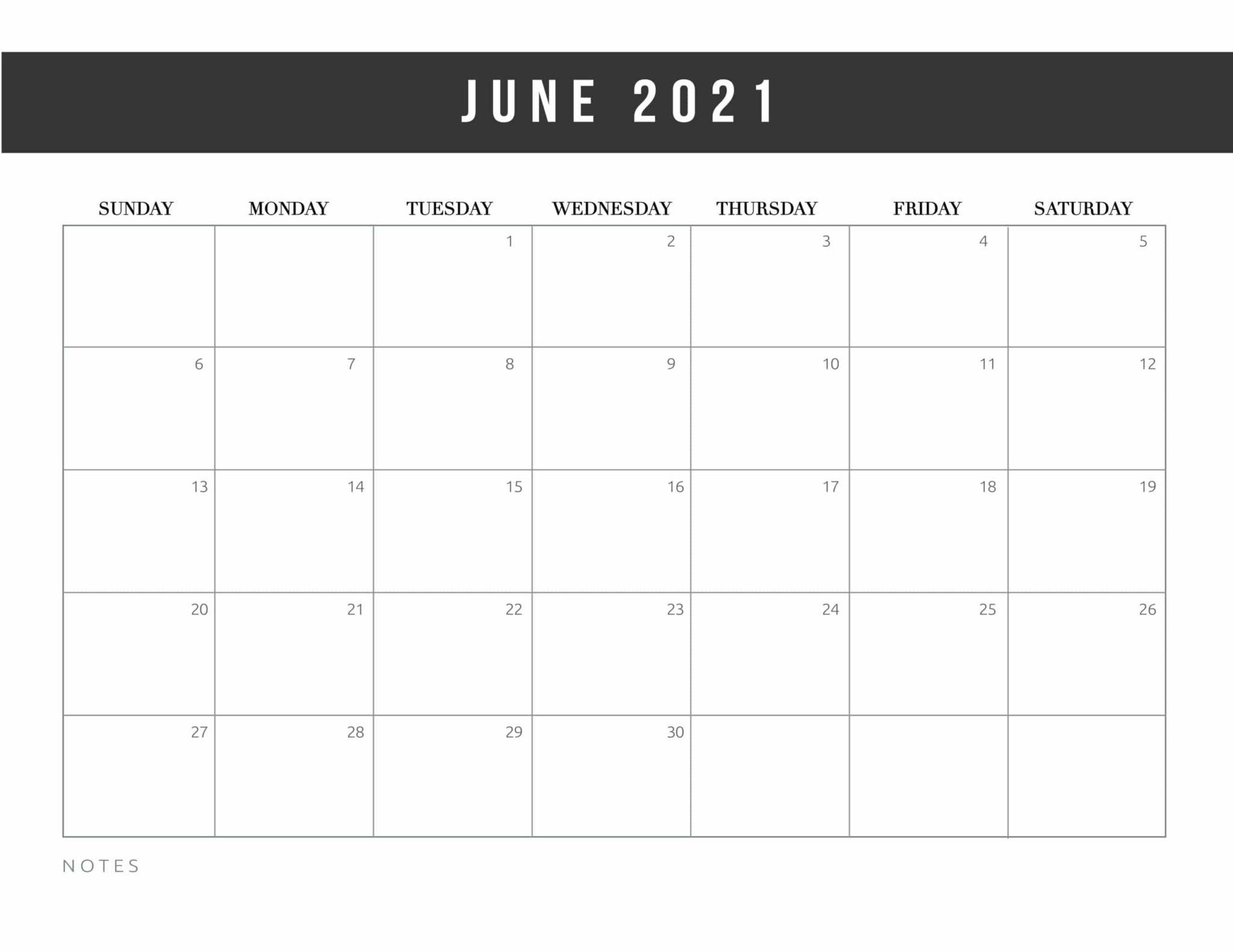 Free Printable June 2021 Calendars