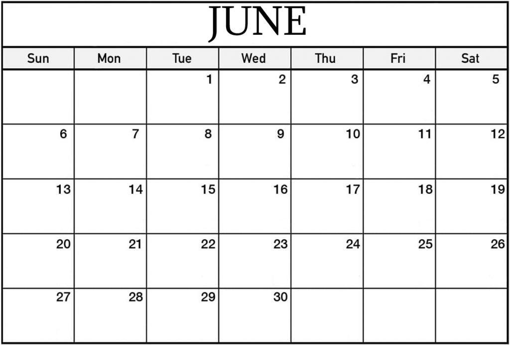 Free Printable June Calendar 2021