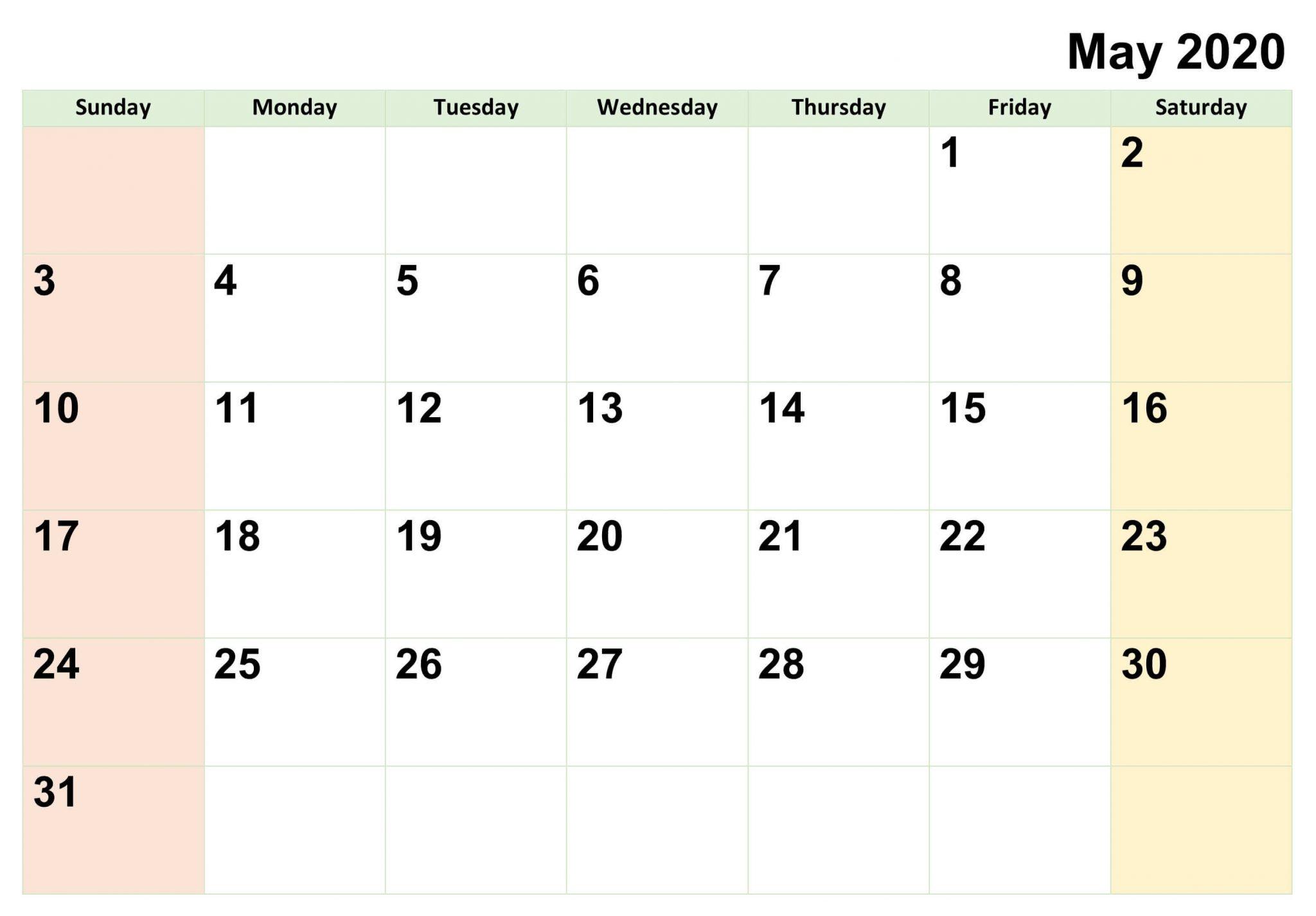 Free Printable May 2020 Calendar PDF