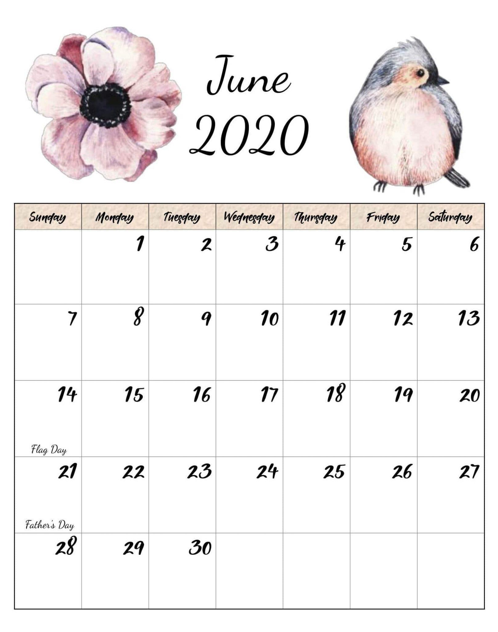 June 2020 Cute Calendar For Desk