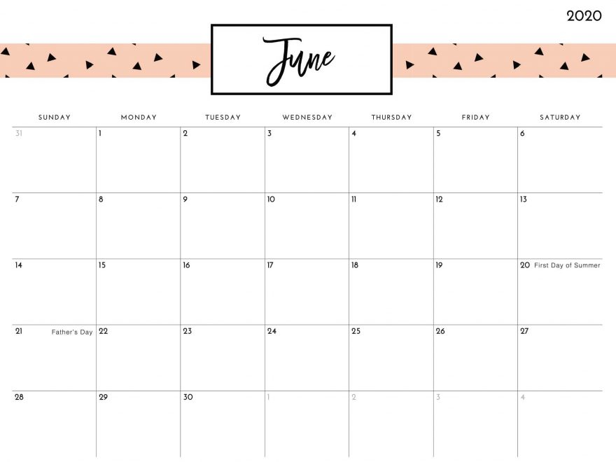 Cute June Floral Wall Calendar Printable