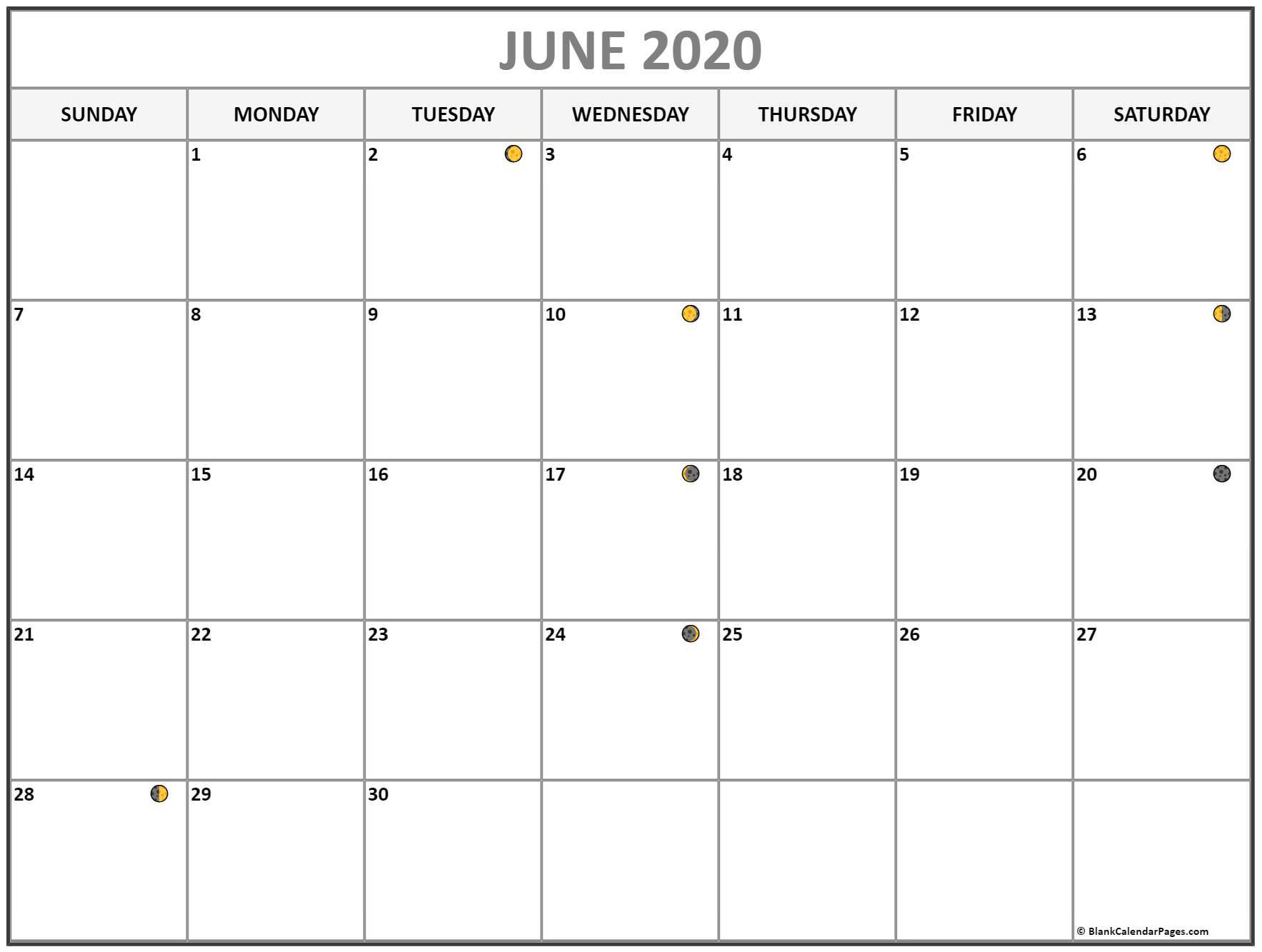 June 2020 Lunar Calendar Moon Phases
