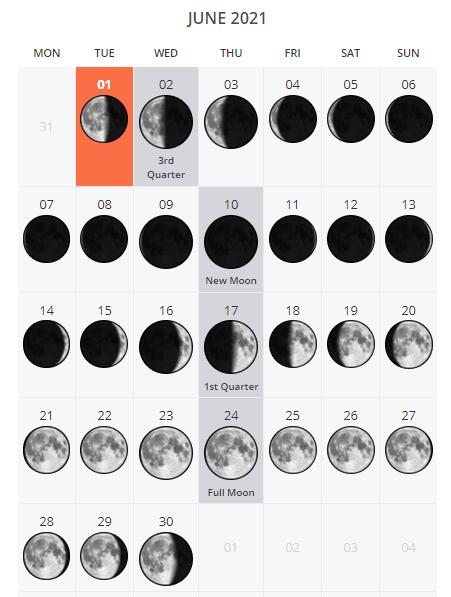 June 2021 Lunar Calendar of United States of America
