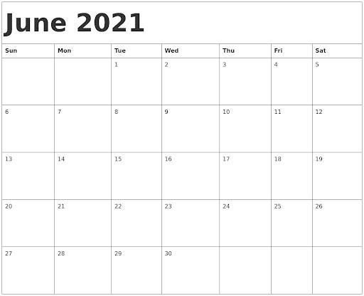 June 2021 PDF Calendar