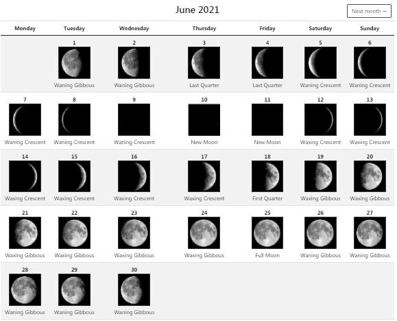 June 2021 moon calendar