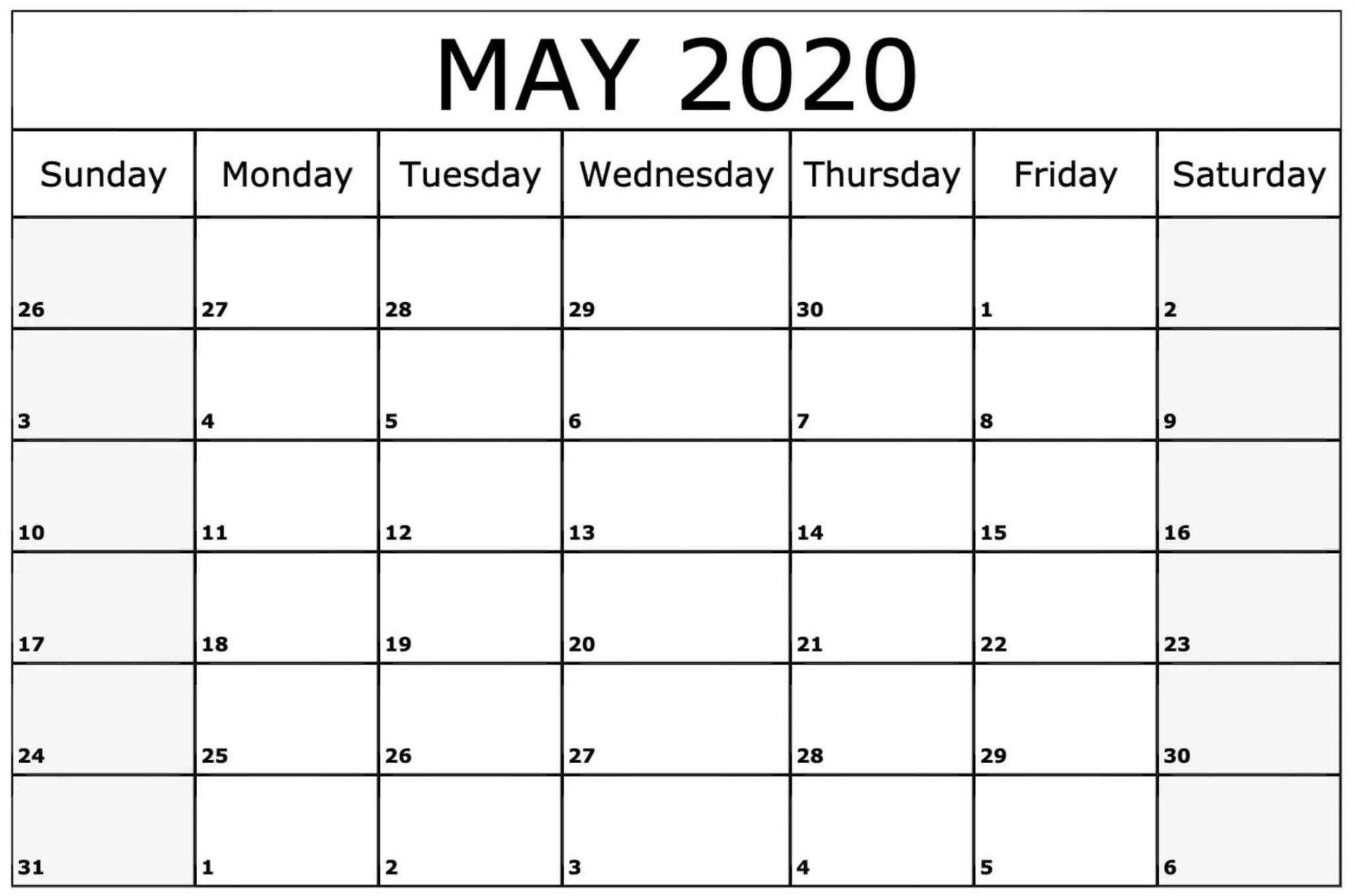May 2020 Printable Calendar PDF