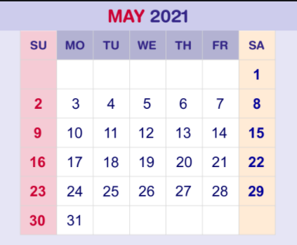 May 2021 Monthly Calendar PDF