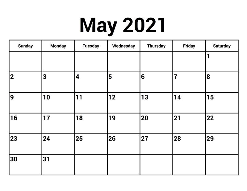 May 2021 Printable Calendar Pdf Free