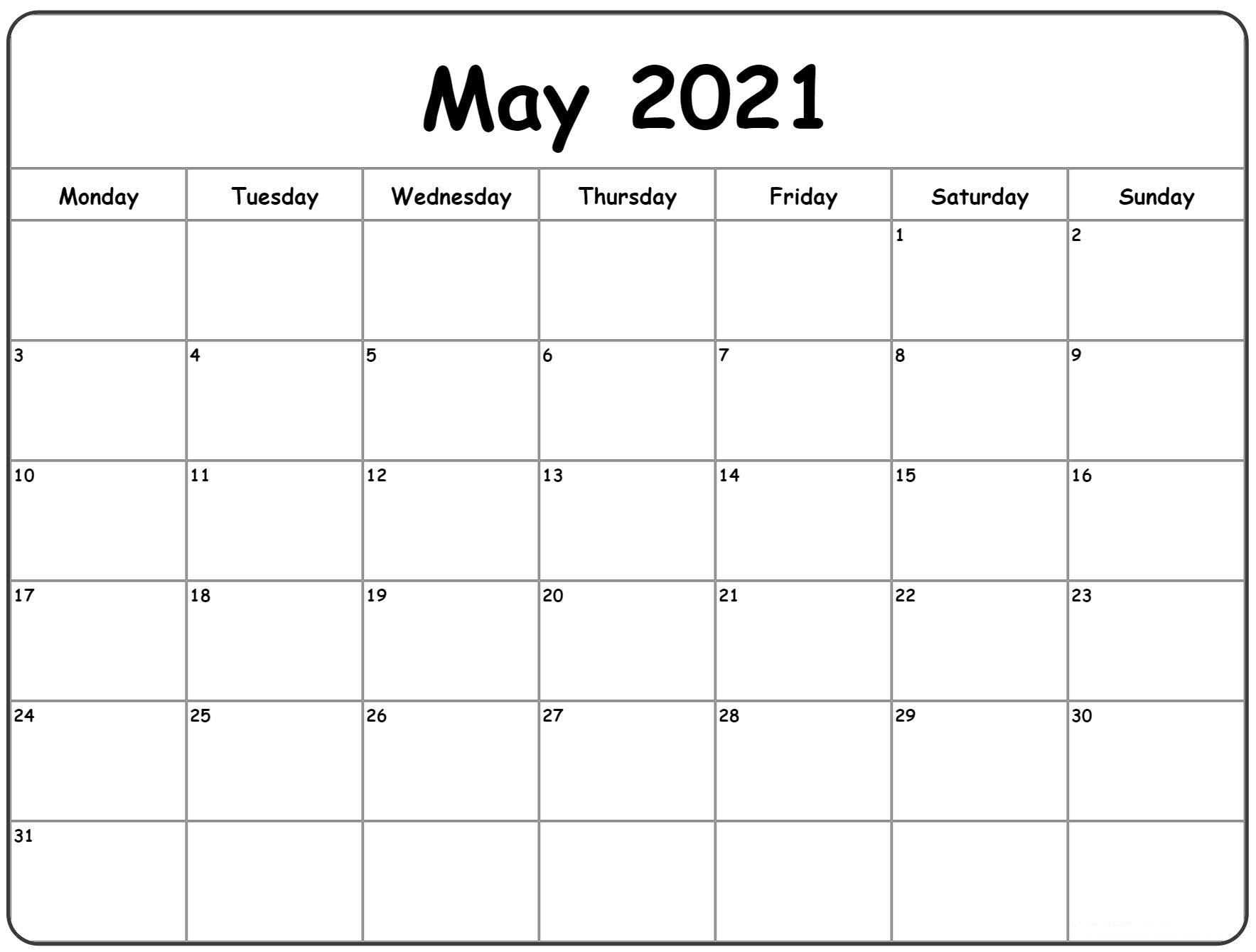 May 2021 Printable Calendar Template PDF