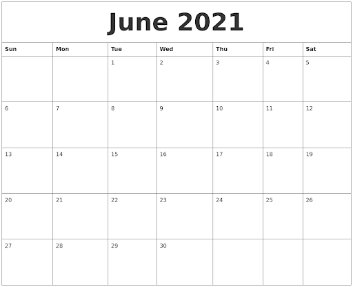 Monthly June 2021 Calendar Pdf Word Excel