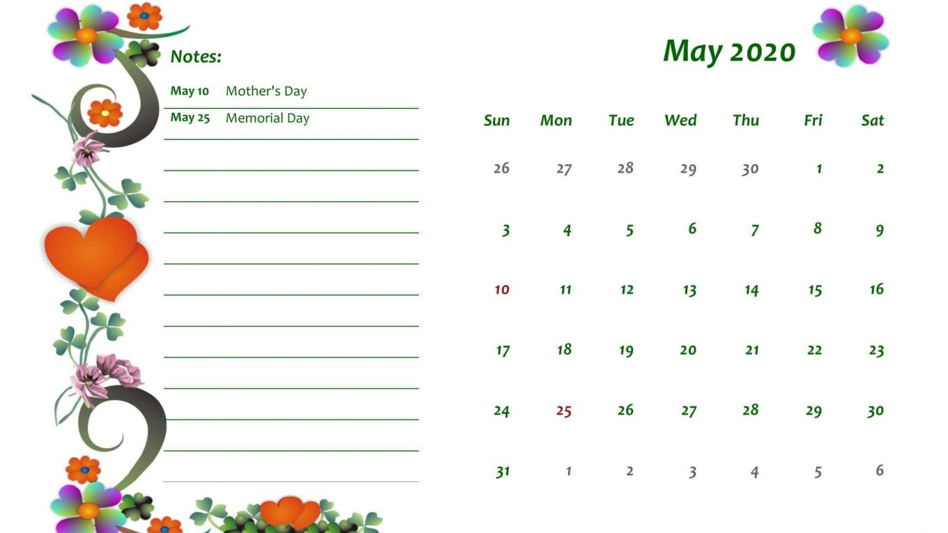 Online May 2020 Printable Calendar Pdf