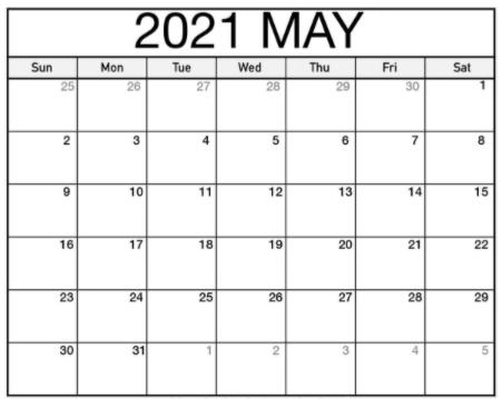 Print 2021 May Blank Calendar