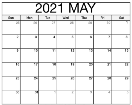 Print 2021 May Pdf Calendar