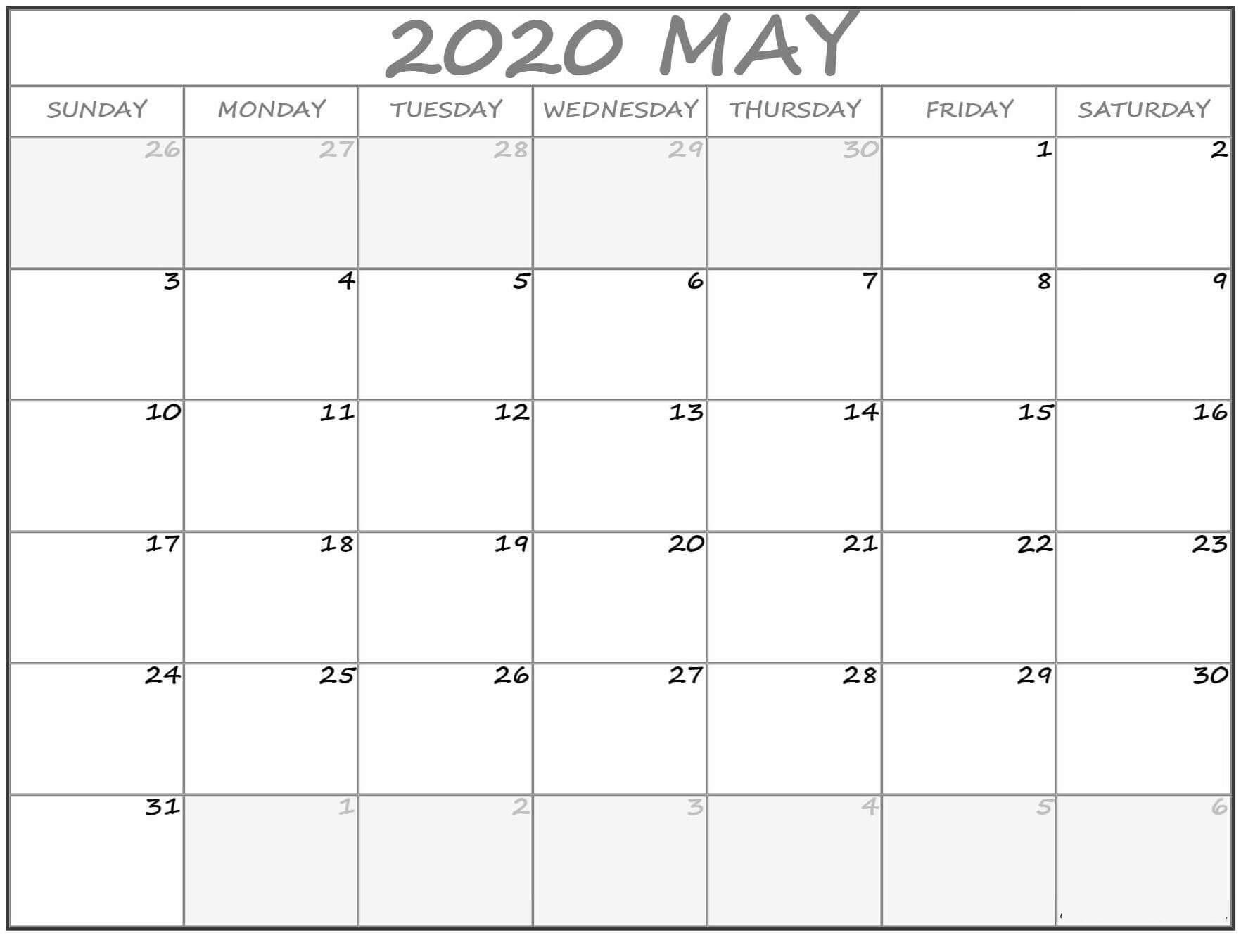Online Blank May 2020 Calendar Template To Print 6