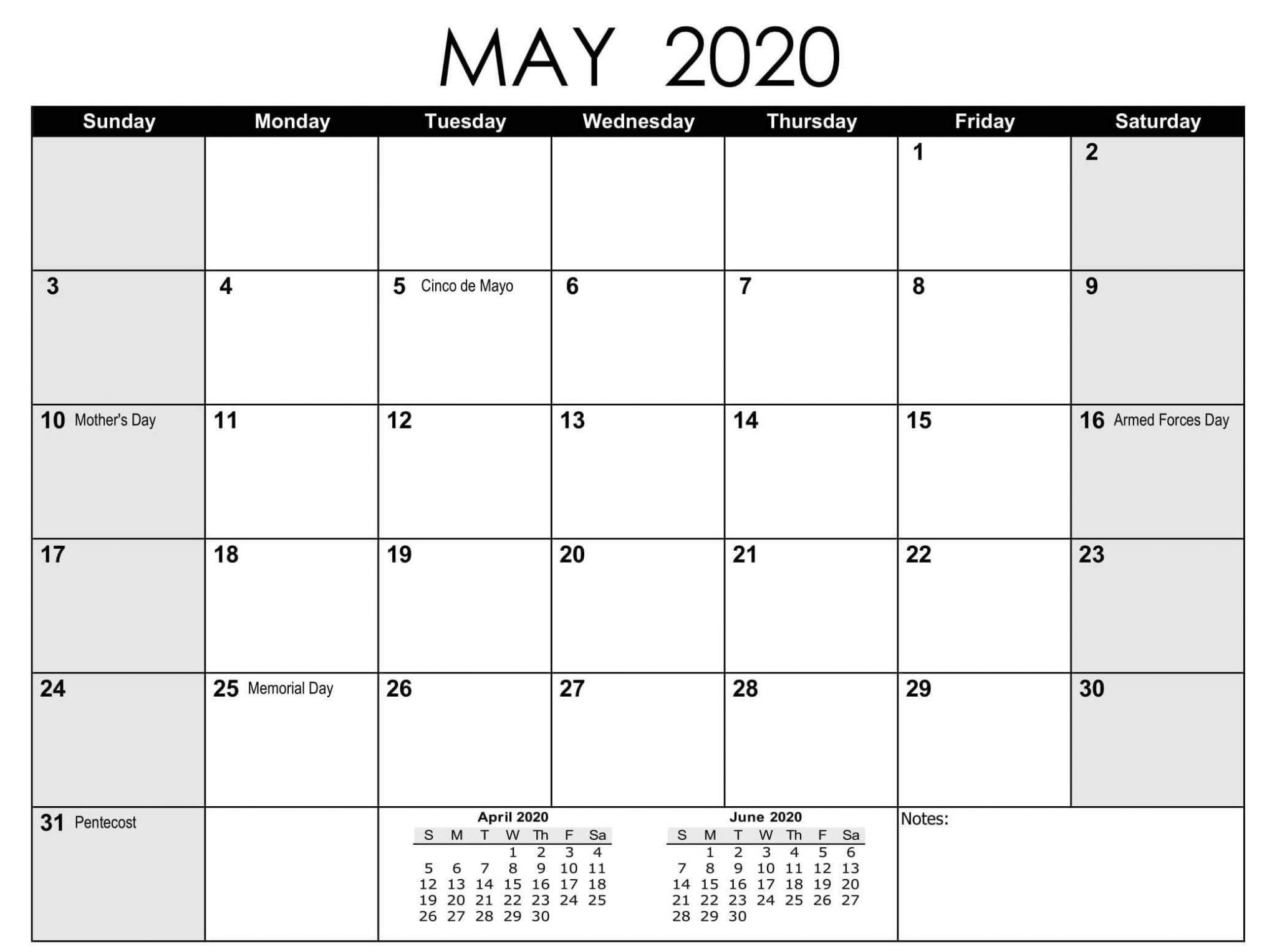 Print May 2020 Calendar PDF