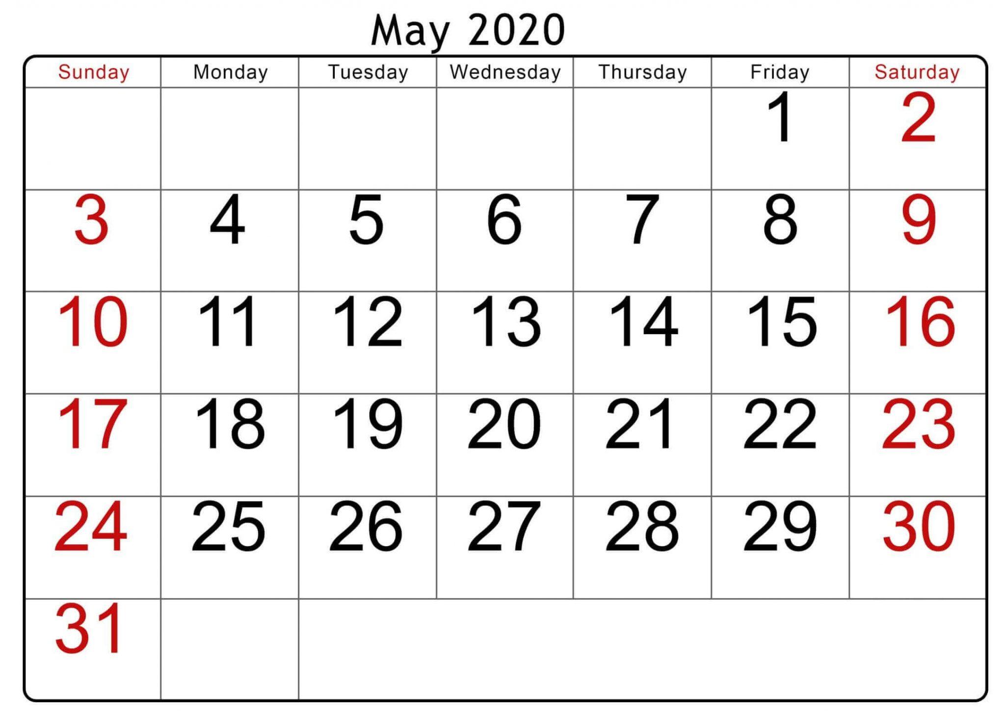 Print May 2020 PDf Calendar