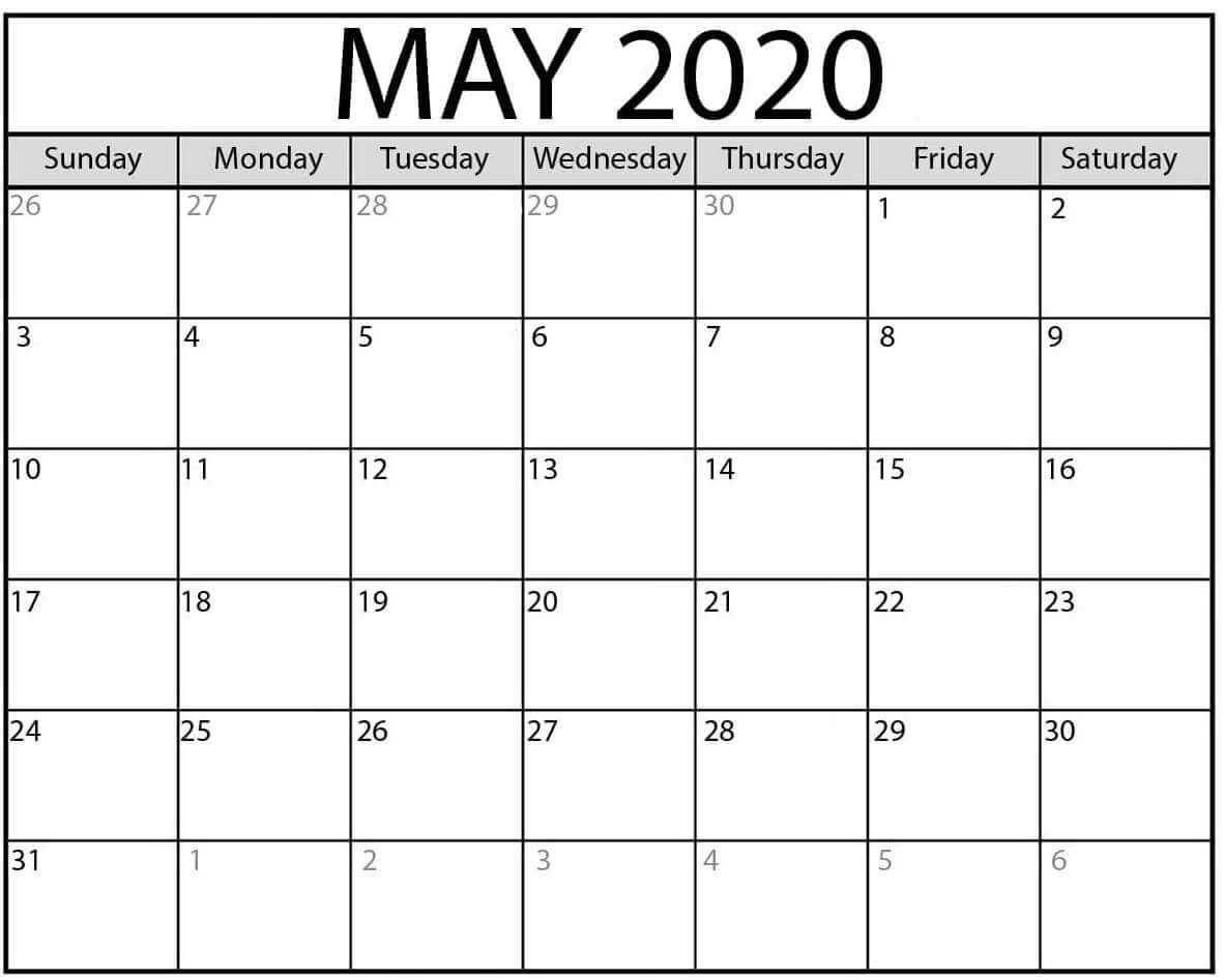 Printable Calendar For May 2020 PDF