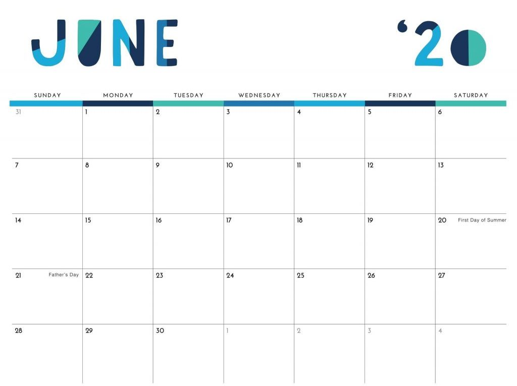 Printable June 2020 Calendar Excel PDF Template