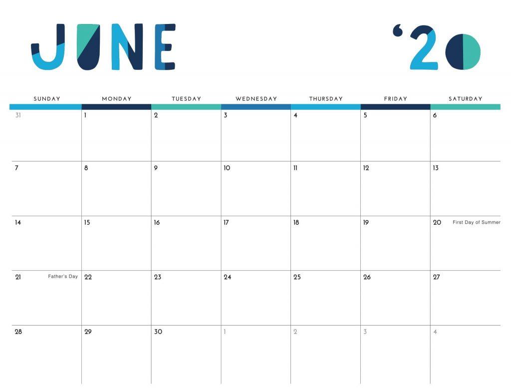 Printable June 2020 Calendar Excel PDF Template