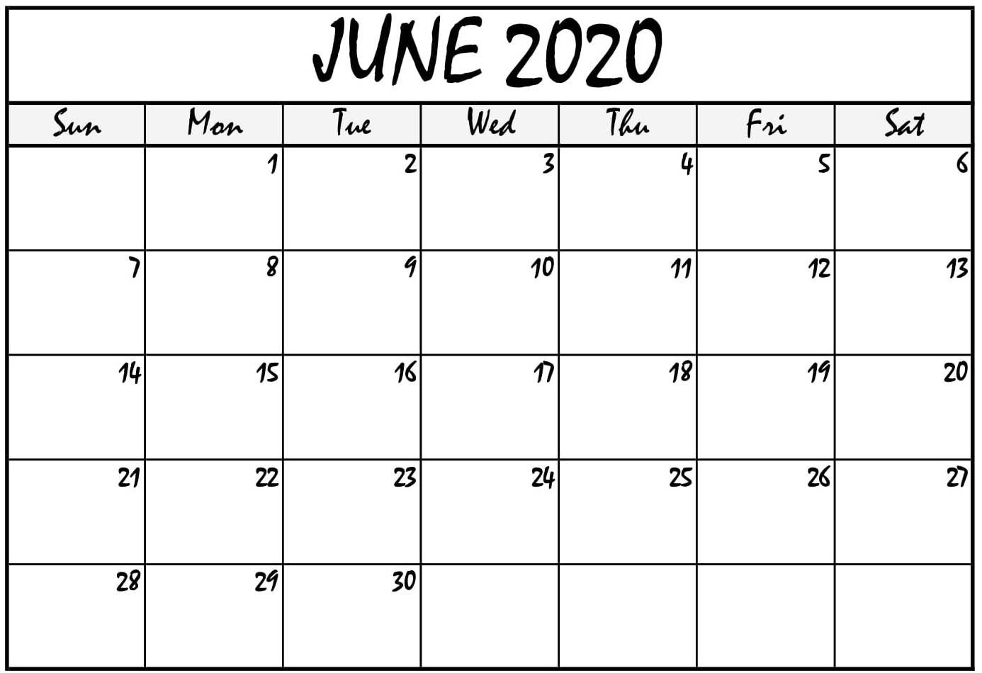 Printable June 2020 Calendar PDF