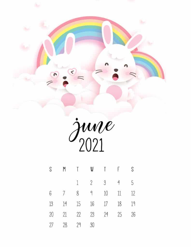 Printable June 2021 Calendar Cute Design