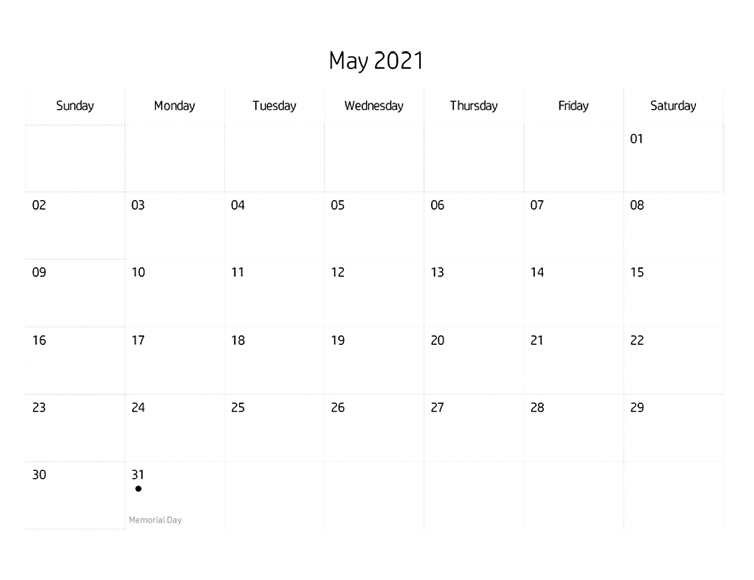 Printables Blank Calendar May, 2021