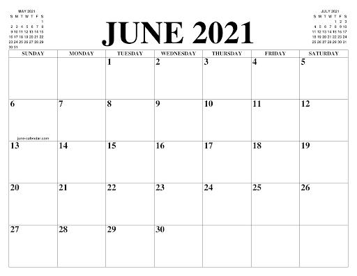 Simple June Calendar 2021