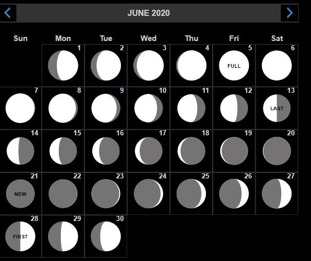 june 2020 lunar moon phases