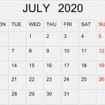 Blank July 2020 Calenda