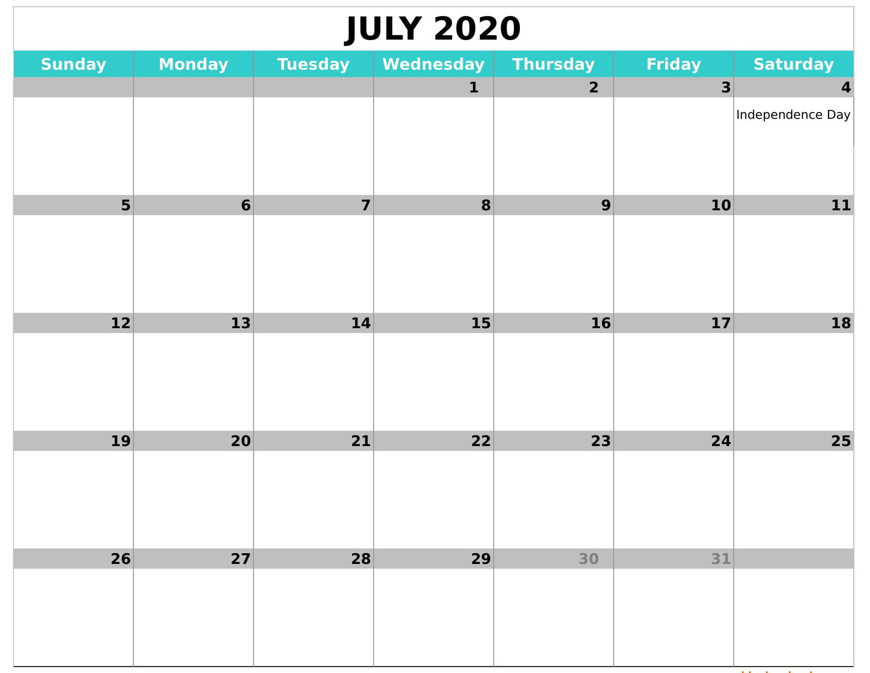 Blank July 2020 Calendar Fillable Template