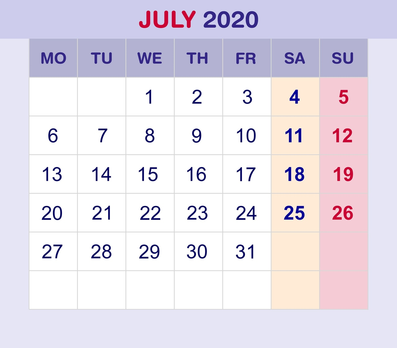 Blank June 2020 Calendar Template With Holidays