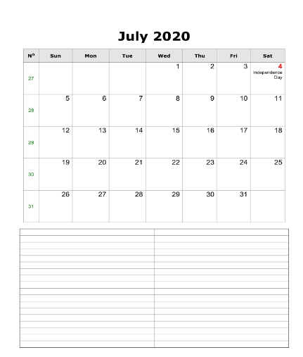 Fillable Calendar July 2020