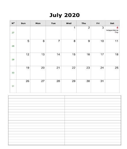 Fillable Calendar July 2020