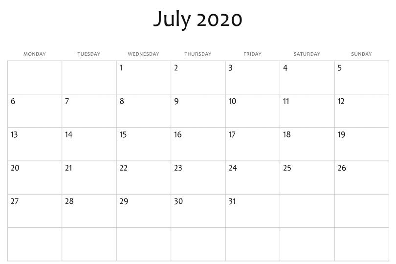 July 2020 Blank Calendar Template