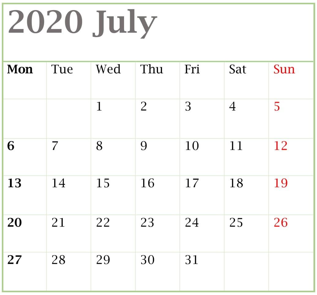 July 2020 Blank Template