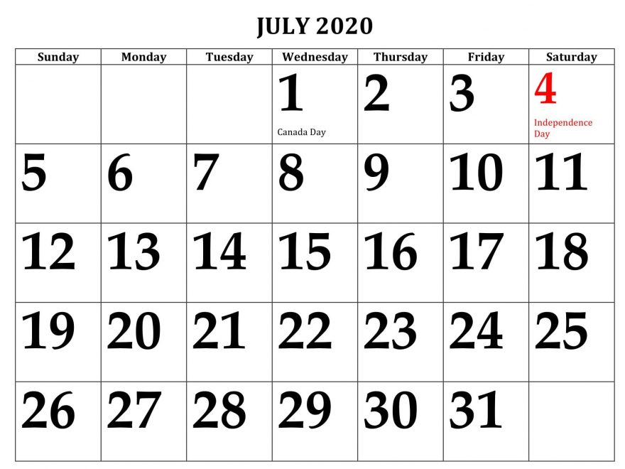 July 2020 Calendar Printable Large Dates
