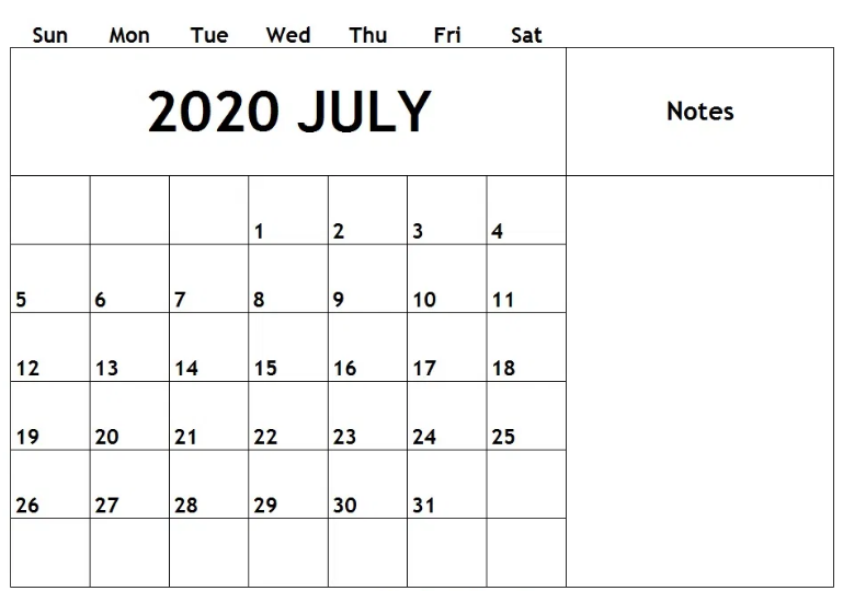 July 2020 Calendar with Large Space Notes