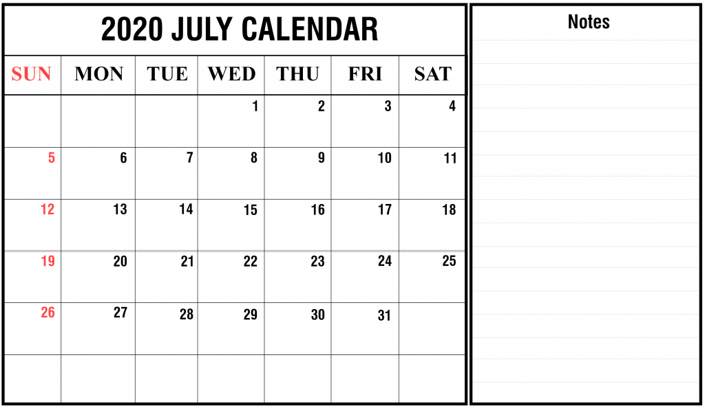 July 2020 Fillable Calendar with Large space notes