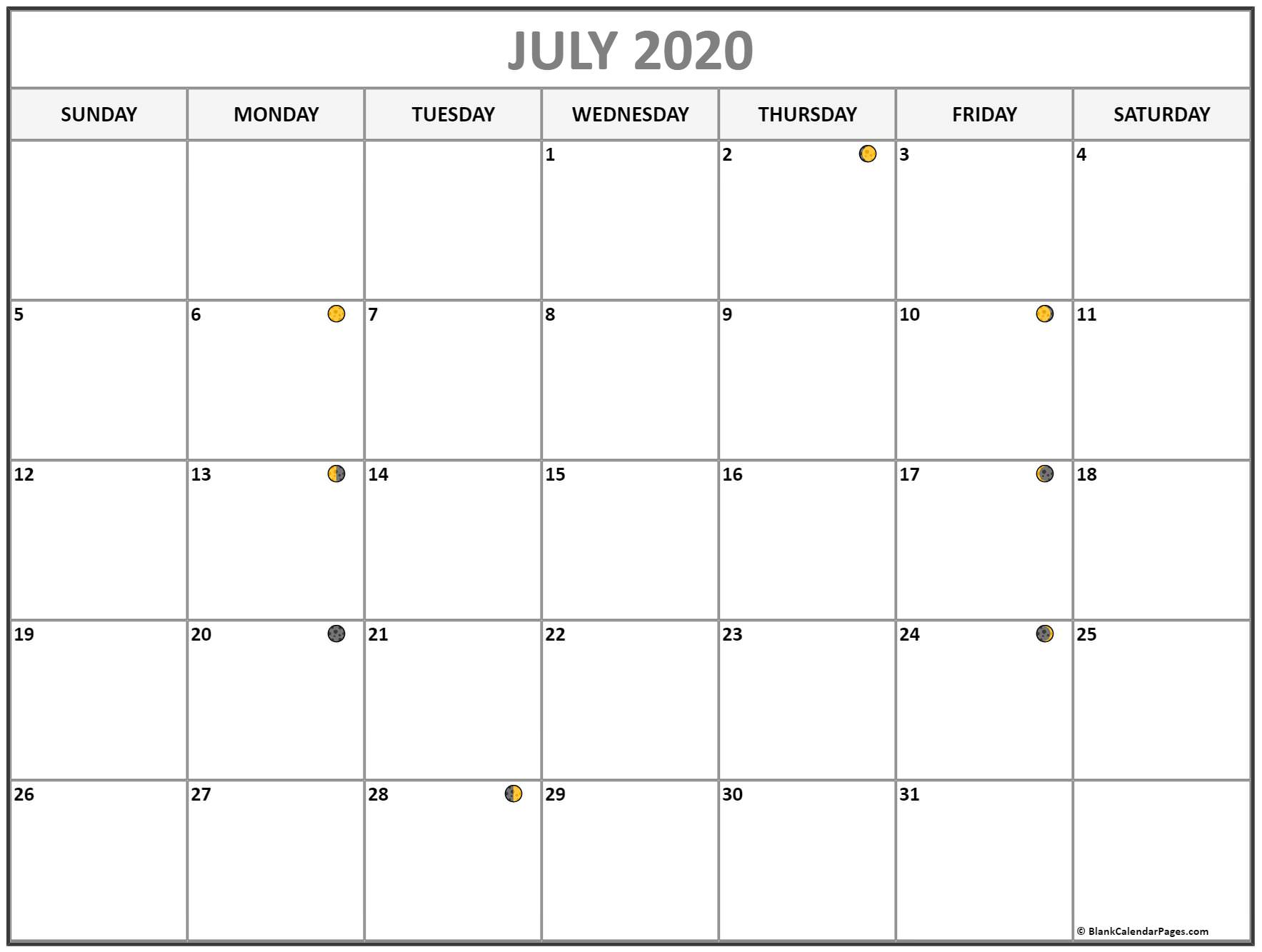 July 2020 Lunar Calendar