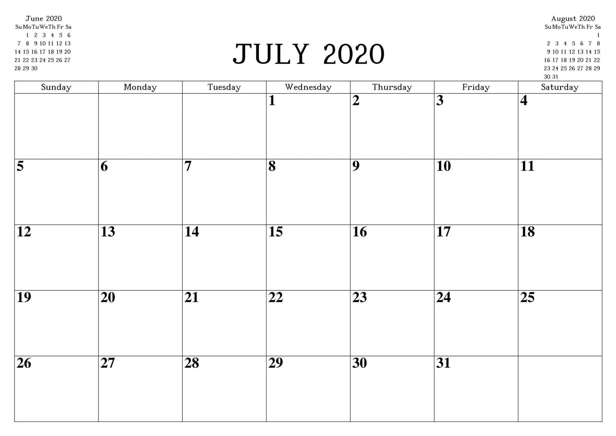 July 2020 Fillable Calendar with Large Space Notes 1