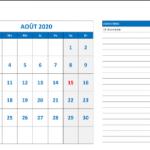 Aout 2020 Calendrier Imprimable Pdf