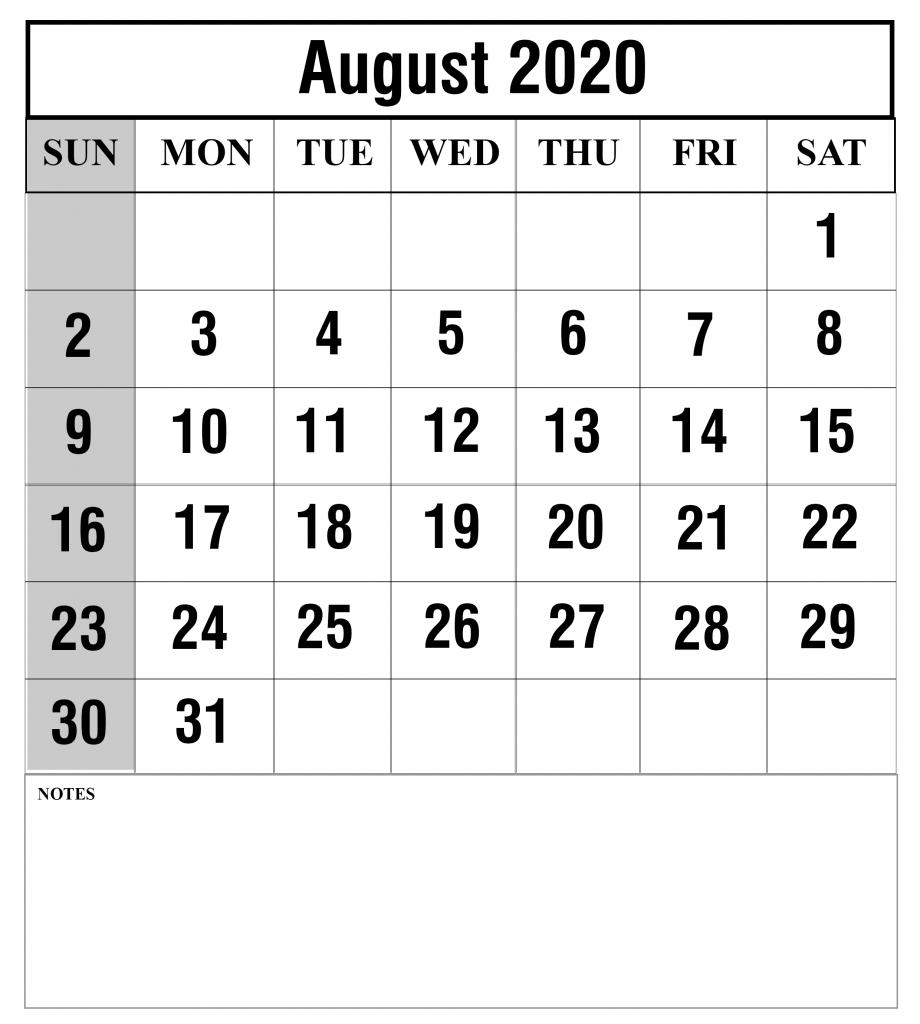 August 2020 Calendar Printable PDF