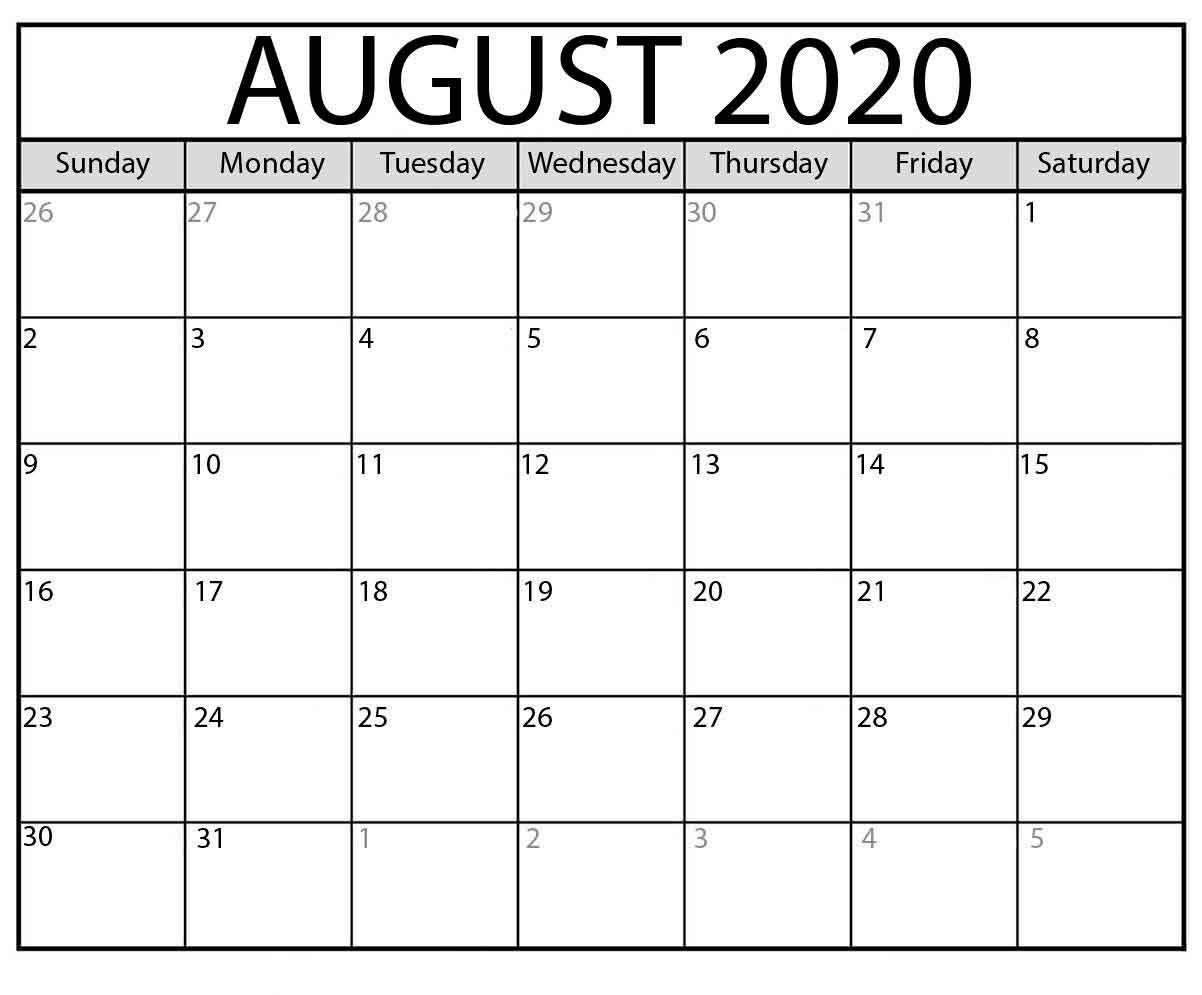 August Calendar Printable 2020