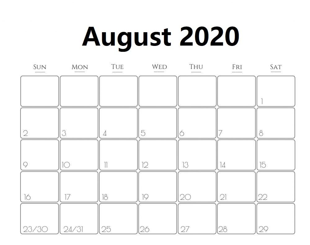 Print August 2020 Calendar Free
