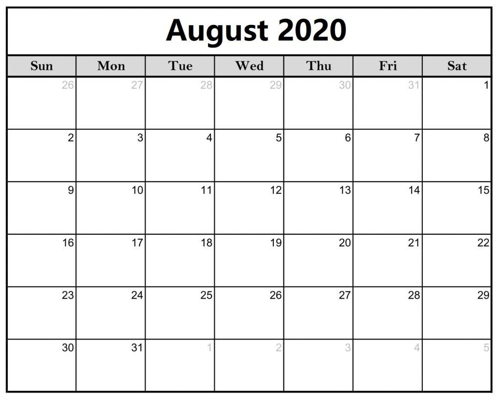 August 2020 Calendar Word